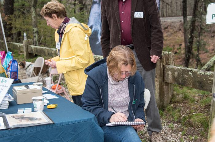 Artist Carol Saxe sketching away