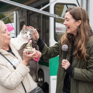 The Independent's Amy Kalaczynski presents the winners in the Cutest Pet Contest, cutest cat winner Mischief