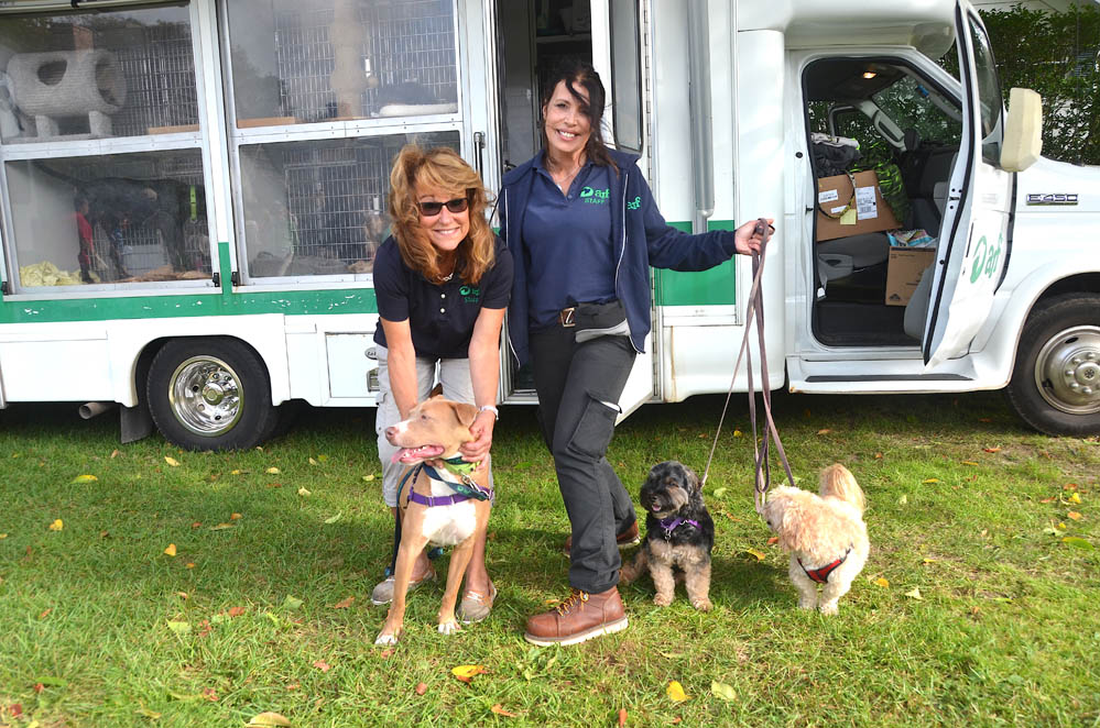 ARF's Kim Rivera and Cindy Leroy with ARFan's Klaus, Lenny and Marley.