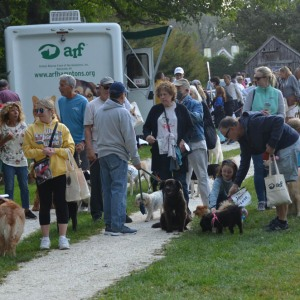The crowd gathers at Mulford Farm in East Hampton.