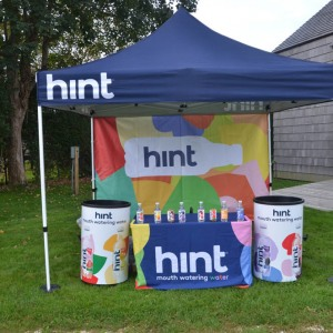 Hint Water helped to hydrate the human walkers.
