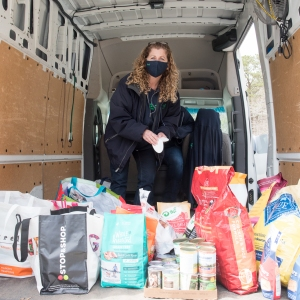 ARF's Jamie Berger sorts donations.