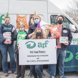ARF staff and volunteers mark one-year anniversary of ARF's Pet Food Pantry.