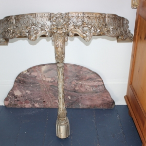 Wall Mounted Pedestal Table with Marble Top
